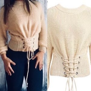 Sweaters - Lace Up Corset Crop Sweater